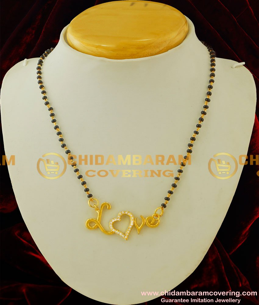 SHN026 - Trendy Love Design Stylish Mangalsutra Gold Plated North Indian Mangalsutra Buy Online