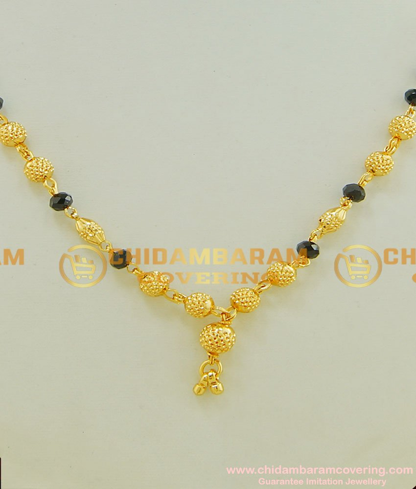 SHN027 - One Gram Gold Traditional Mangalsutra With Black Beads Design