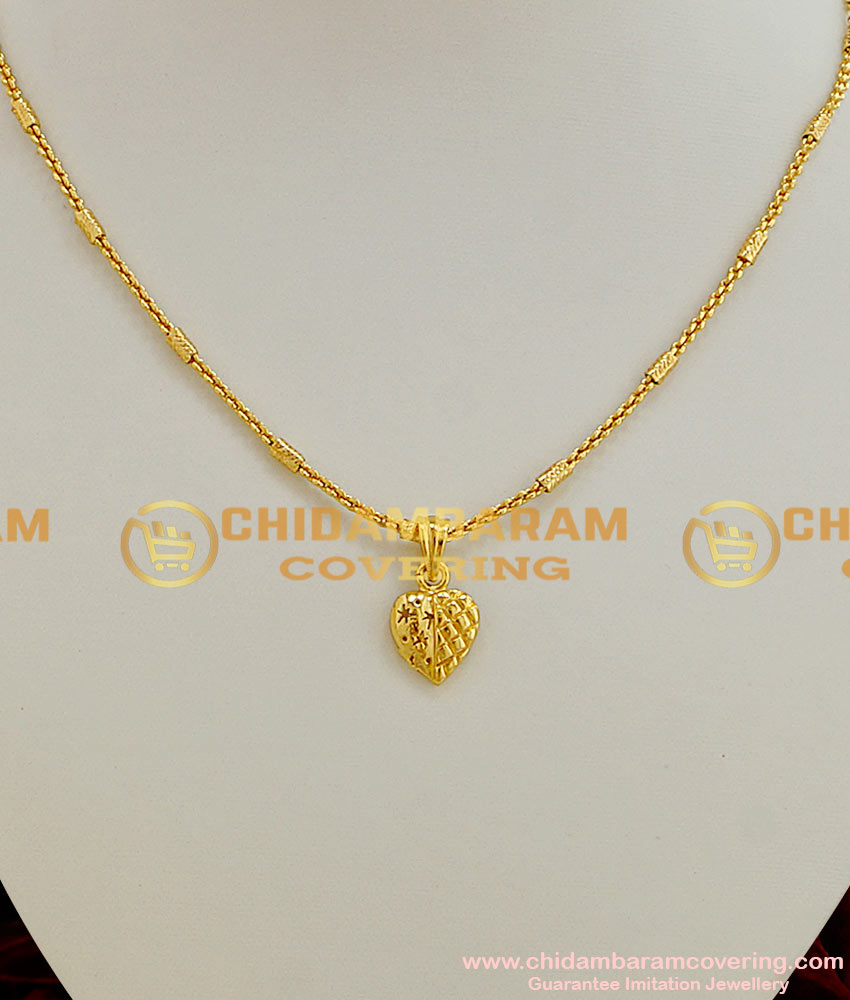 Trendy Gold Heart Pendant South Indian