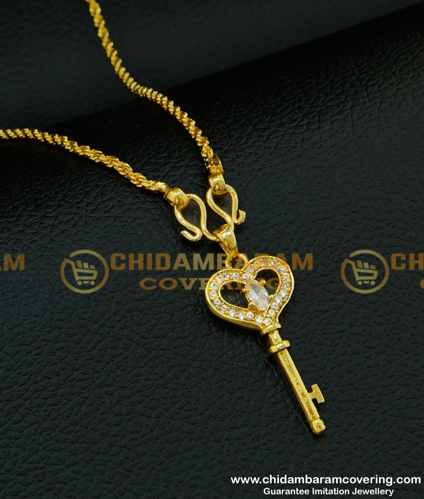 SCHN198 - Unique Stone Key Locket Pendant Design Gold Plated Dollar Collections with Chain Online