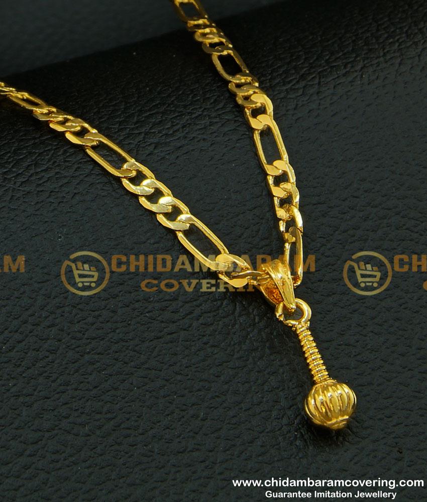 SCHN205 - Sachin Chain Gold Hanuman Gathai Pendant Gold Plated Jewellery