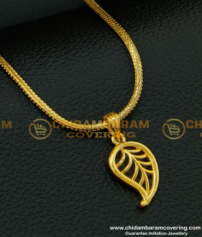 SCHN208 - Beautiful Leaf Design Gold Pendant One Gram Dollar Chain for Girls