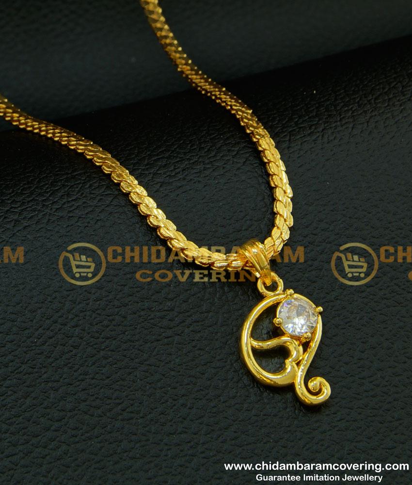 SCHN213 - Fashionable Single White Stone Dollar Baby Gold Chain Design Imitation Jewellery