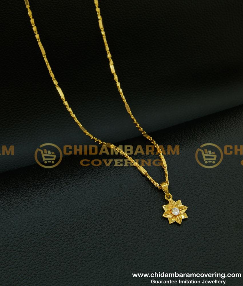 SCHN216 - Elegant American Diamond Stone Flower Model Small Gold Pendant Designs with Chain Online