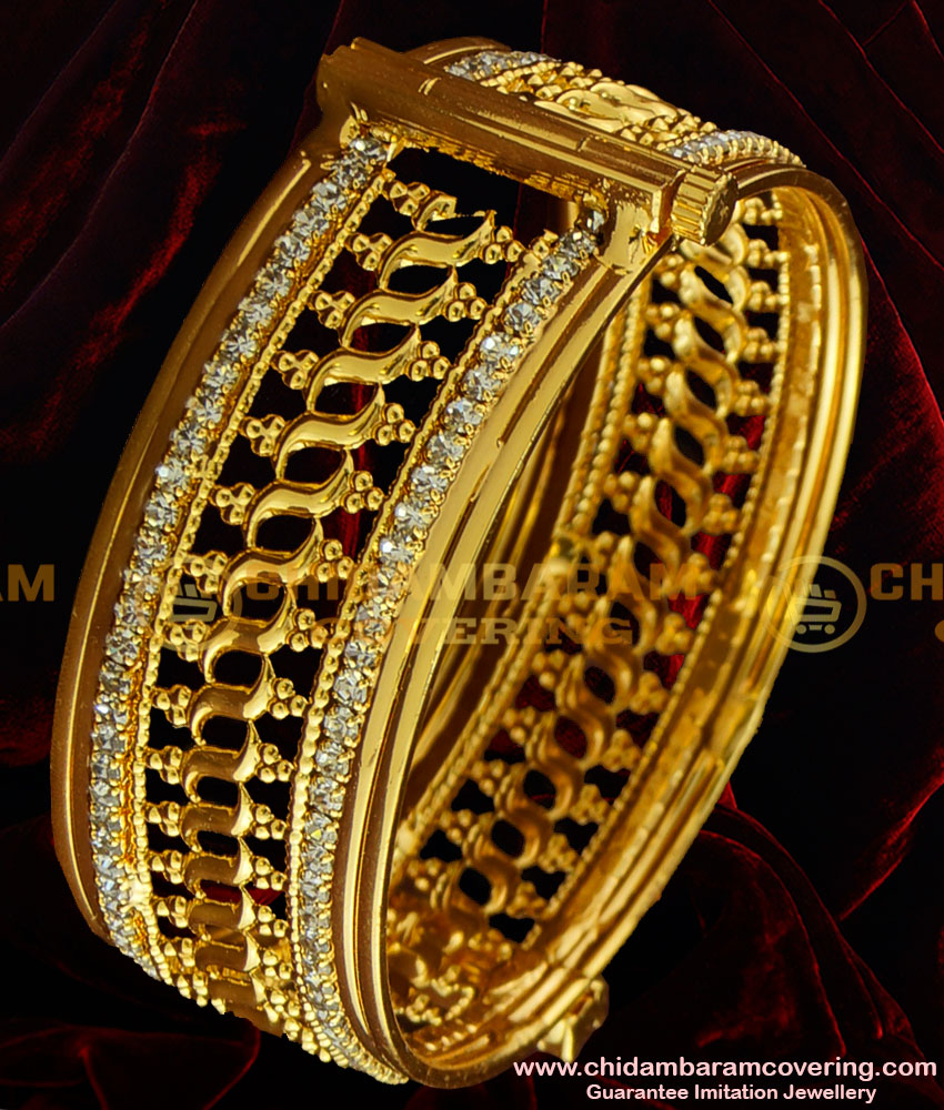 BNG001 - 2.6 Size Gold Plated American Diamond Sparkling White Stone Party Wear Imitation Bangle Buy Online