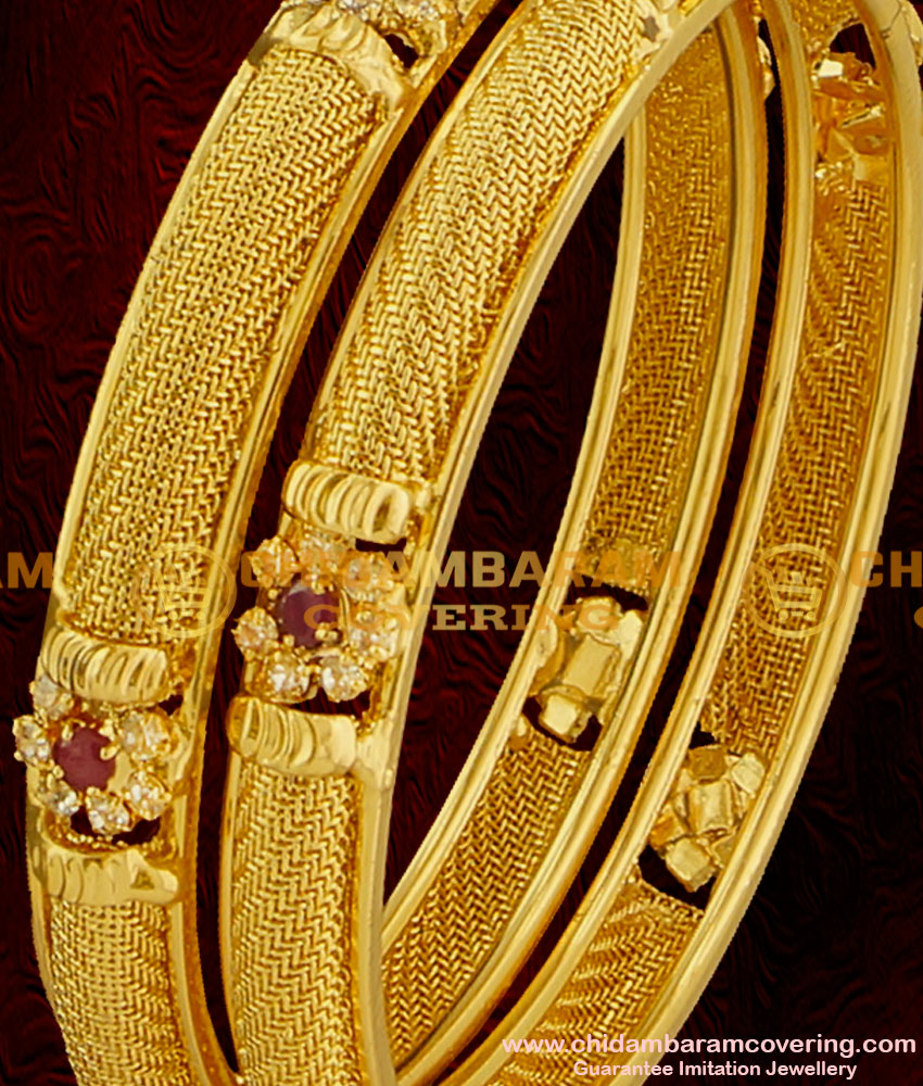 BNG002 - 2.6 Size Latest Chidambaram AD Sparkling White and Red Stone Floral Design Imitation Bangle Buy Online