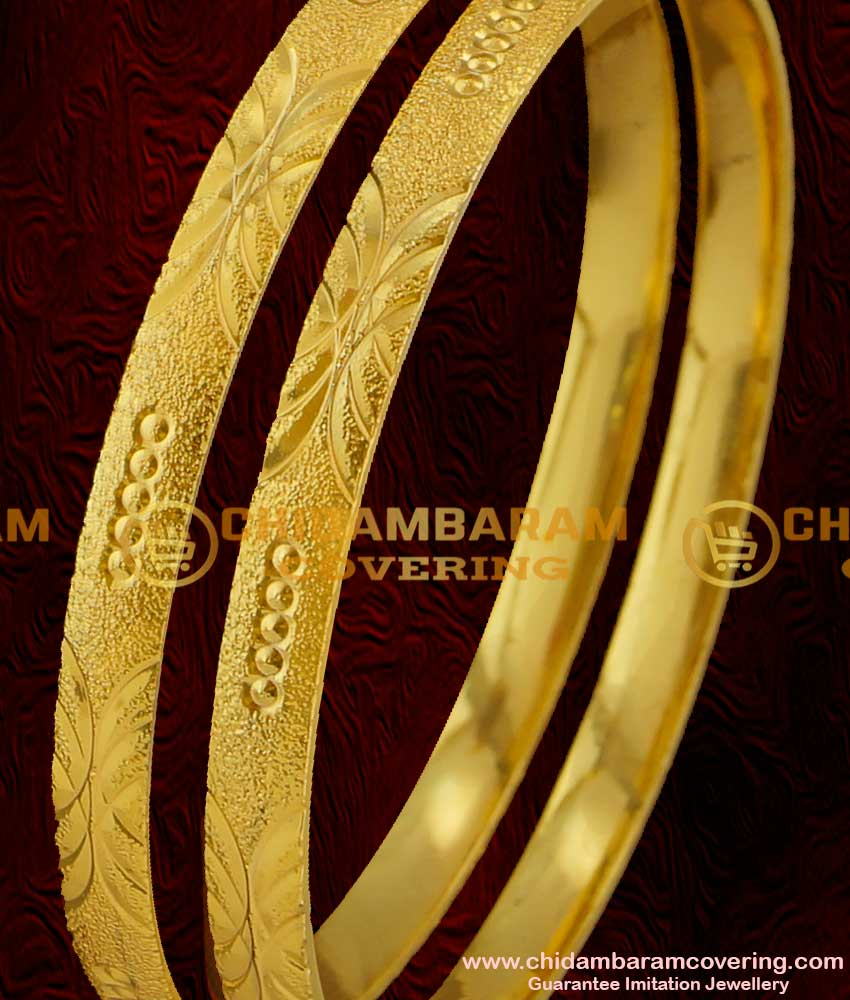 BNG013 - 2.6 Size Fancy Machine Cut Bangles Daily Use Casual Wear 2 Pcs Set Bangles