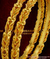 BNG017 - 2.4 Size One Gram Gold Plated Antique Curvy Olive Leaf Design Daily Wear Bangles Online