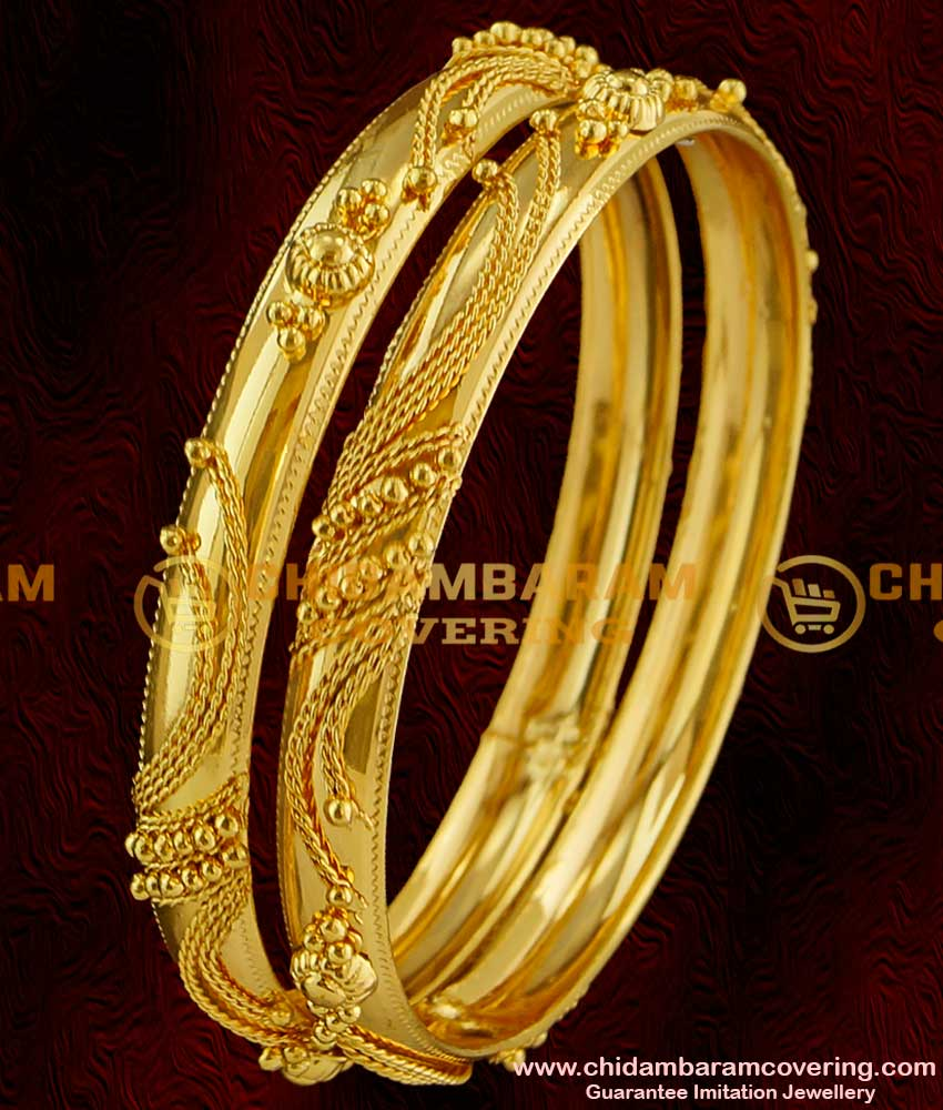 BNG019 - 2.6 Size Gold Bangle Type Design South Indian Guarantee Jewelry Collections Online
