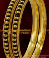 BNG030 - 2.6 Size Handmade Black Beaded Karugamani Twisted Design Guarantee Bangles Collection Online