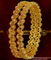 BNG032 - 2.8 Size Gold Plated White Stone Party Wear Zig Zag High Quality Bangle