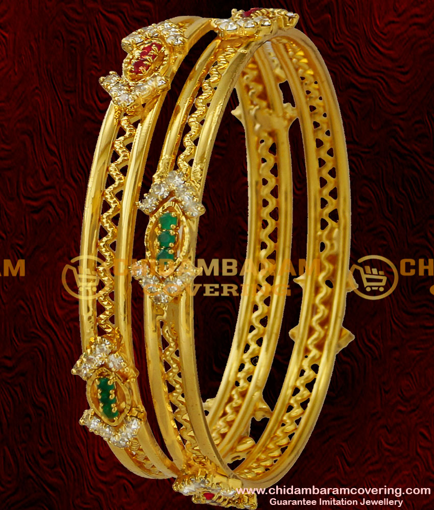 BNG034 - 2.6 Size Party Wear Beautiful and Sparkling Multi Stone Imitation Bangle