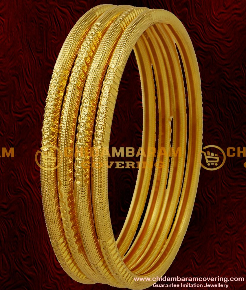 BNG037 - 2.4 Size Smooth Finish Simple Design Daily Use Casual Wear 4 Pcs Set Bangles