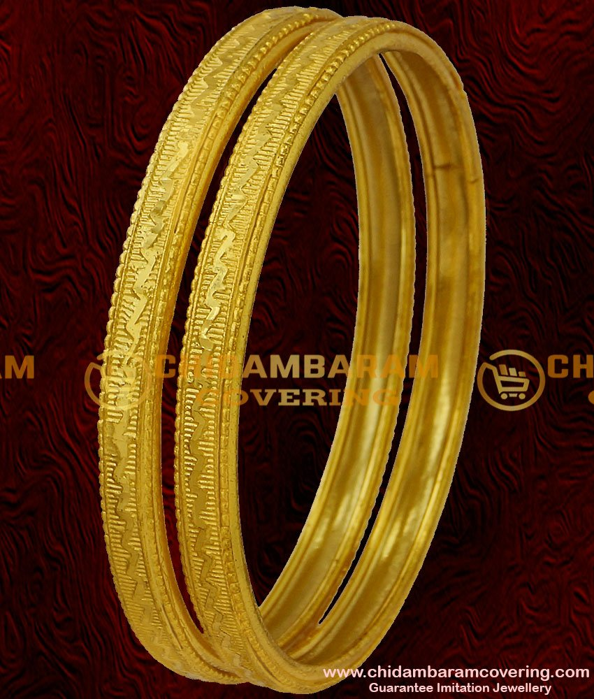 BNG041 - 2.8 Size Self Design Gold Plated Daily Wear Bangles South Indian Guarantee Jewelry Online