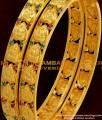 BNG042 - 2.8 Size Traditional Gold Plated Lakshmi Design Bangles with Ruby and Emerald Stone Online Shopping