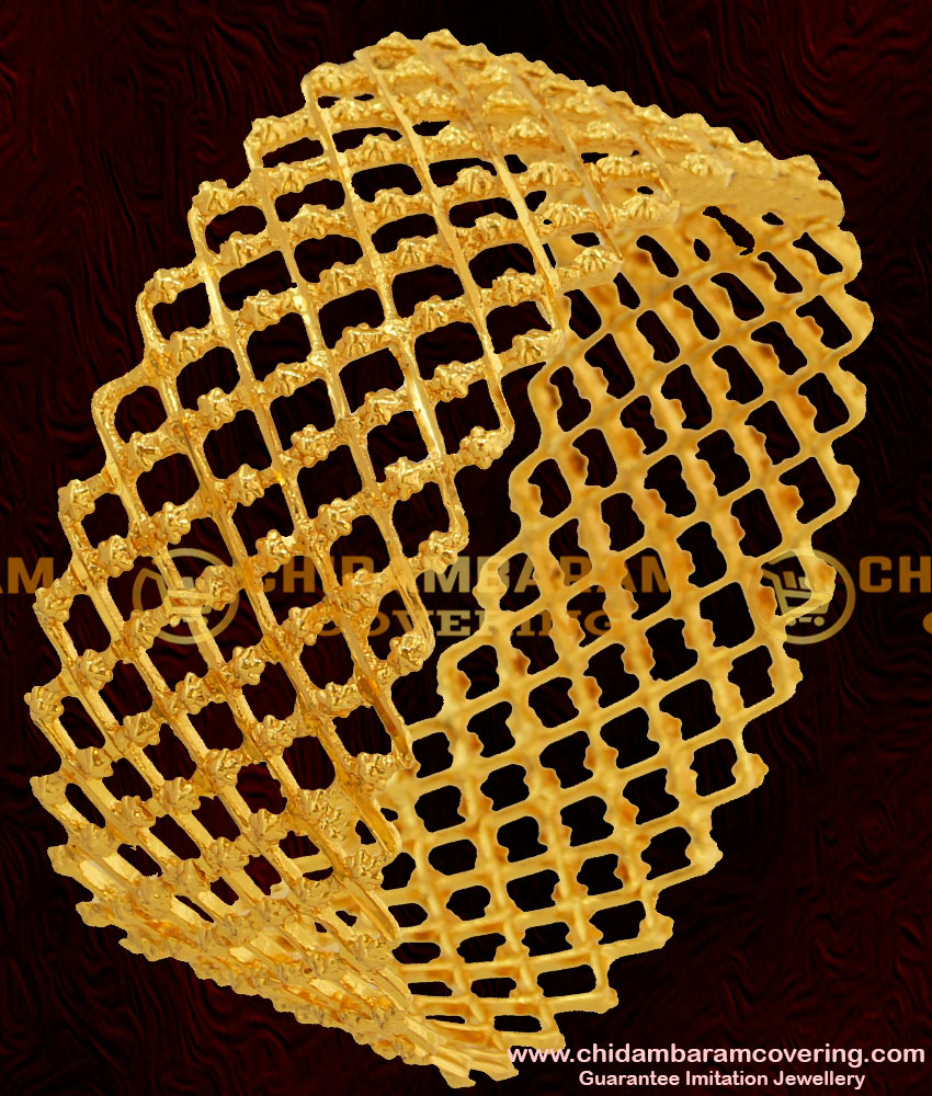 BNG045 - 2.8 Size Beautiful Gold Inspired Zig Zag Bridal Kada Bangle Design Online Shopping