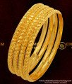 BNG047 - 2.6 Size Traditional Muthu Bangles 4 Pcs Set Daily Wear Gold Plated Bangles Collection Online