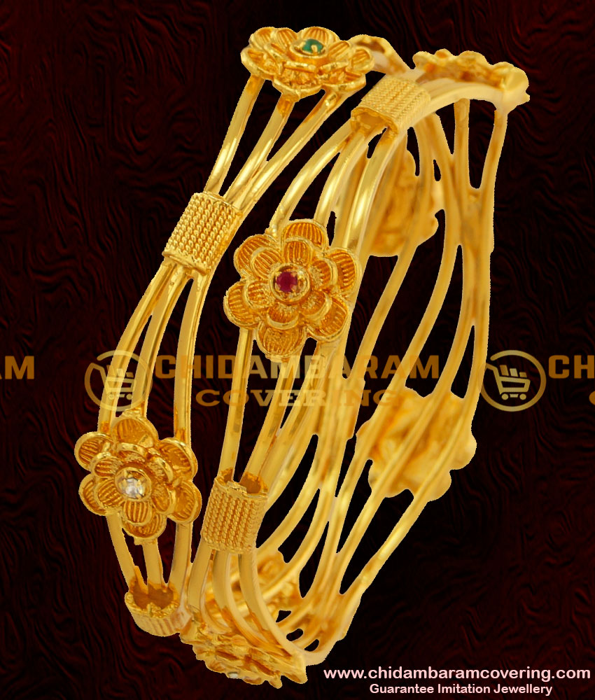 BNG050 - 2.6 Size Latest Collection Bridal Wear Flower Design Multi Stone Imitation Bangles Online