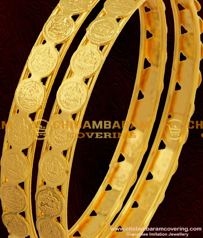 BNG052 - 2.4 Size South Indian Style Traditional Gold Plated Lakshmi Coin Kasu Bangles Online Shopping