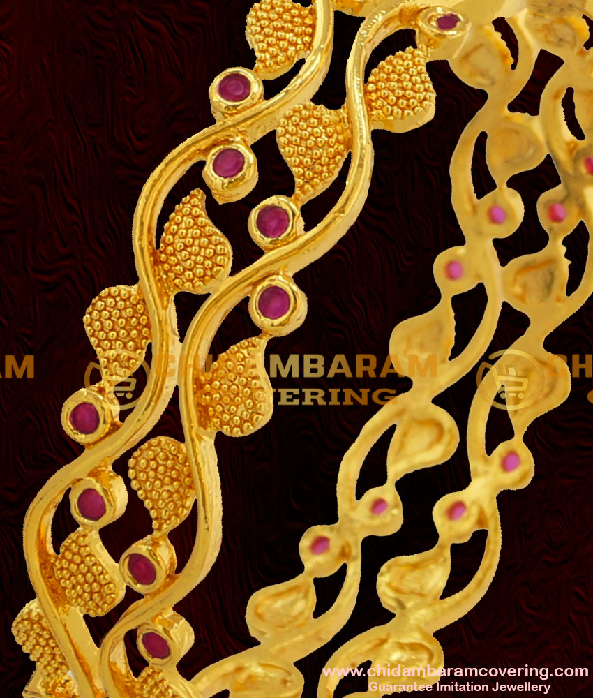 BNG055 - 2.6 Size 1 Gram Gold Plated Stylish Look Ruby Stone Mango Design Party Wear Bangle Buy Online