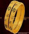 BNG057 - 2.8 Size Elegant Gold Plated Shiny Leaf Cutting Designer Bangles Online