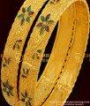 BNG057 - 2.6 Size Elegant Gold Plated Shiny Leaf Cutting Designer Bangles Online