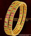 BNG058 - 2.6 Size Semi Precious Ruby Emerald Stone Bangles For Women