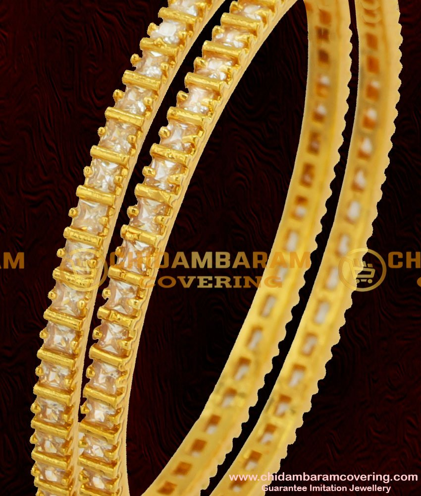 BNG060 - 2.6 Size Semi Precious Full White Stone Bangles For Women