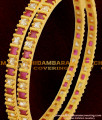 BNG061 - 2.6 Size Semi Precious Red And White Designer Stone Bangles For Women
