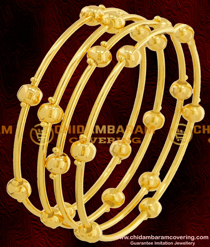 BNG069 - 2.6 Size Plain Golden Balls Pipe Bangles Party Wear Collections Online
