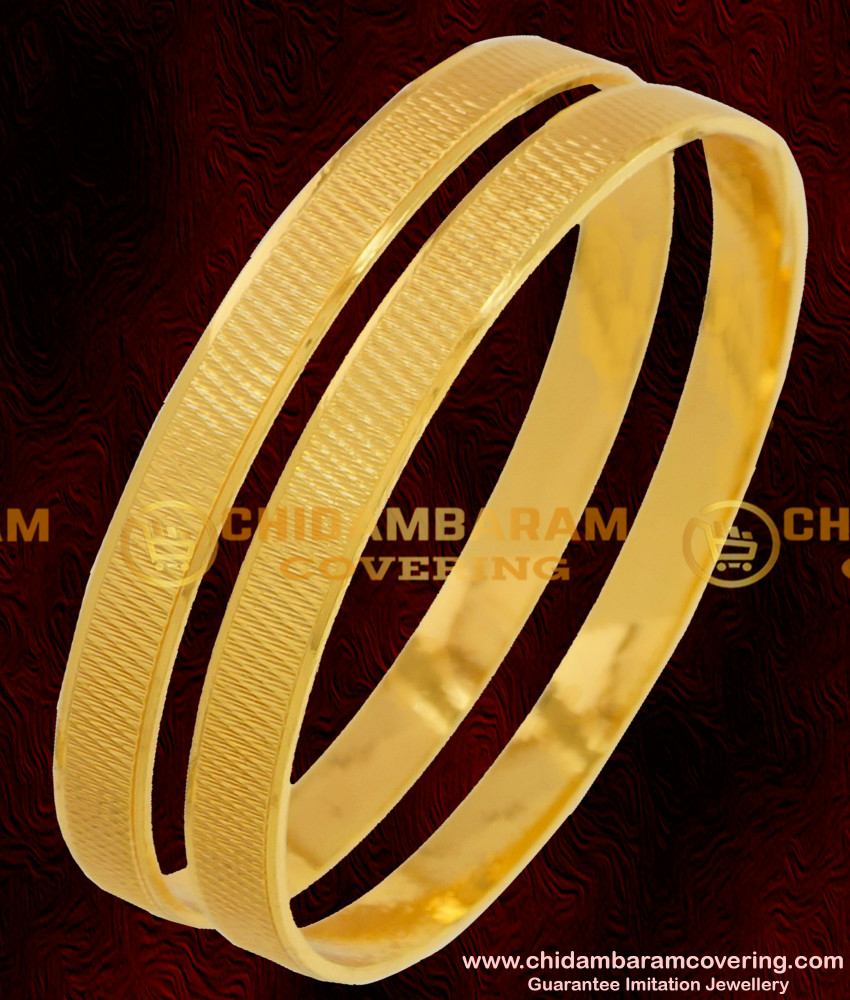 BNG074 - 2.4 Size Gold Plated Daily Wear Machine Cut Bangles South Indian Guarantee Jewelry Online