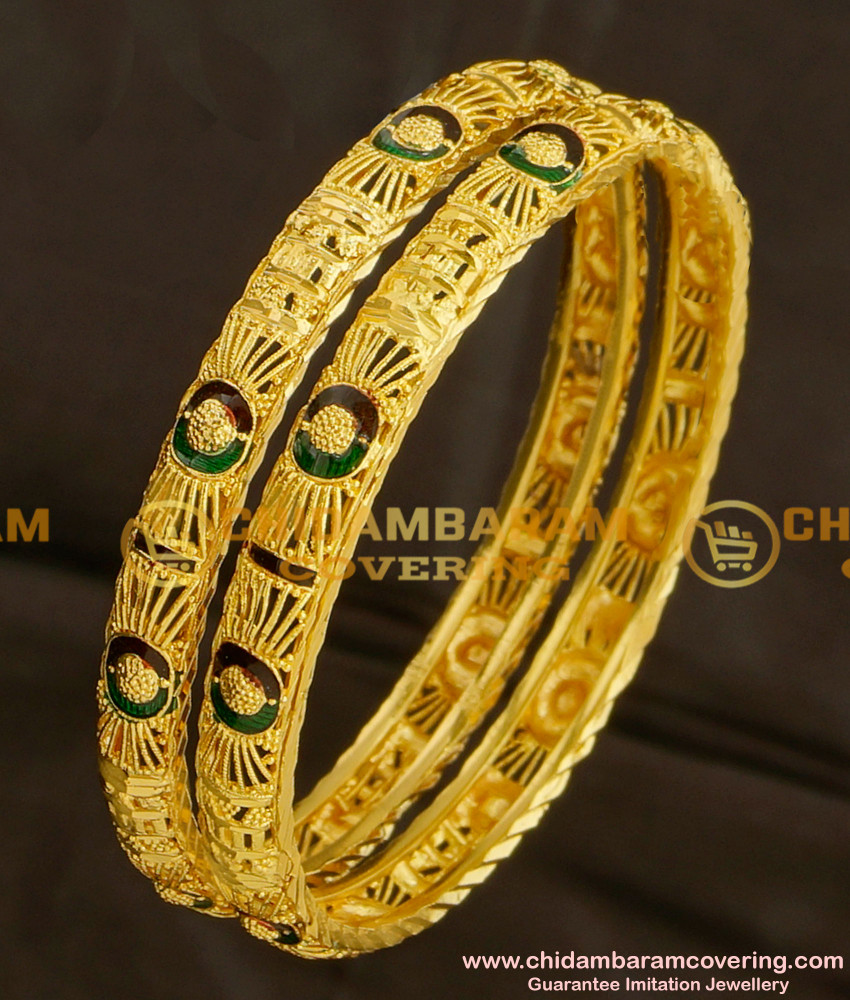 BNG077 - 2.6 Size Gold Look Light Weight Thin Enamel Design Bangles Gold Plated Jewellery Online