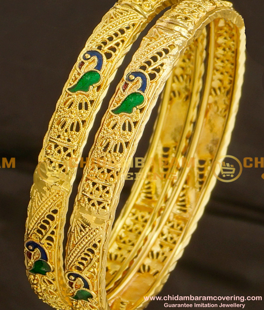 BNG078 - 2.4 Size High Quality Peacock Design Enamel Bangles for Women