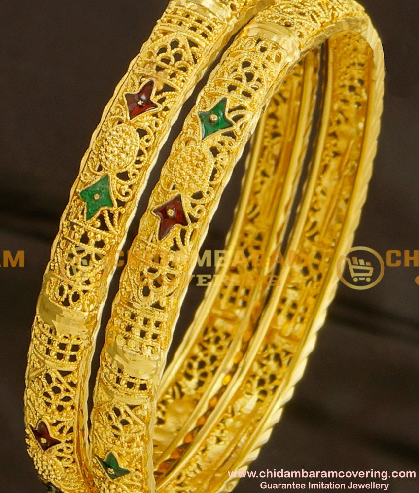 BNG079 - 2.8 Size Calcutta Bangles Design 1 Gram Gold Plated Jewelry