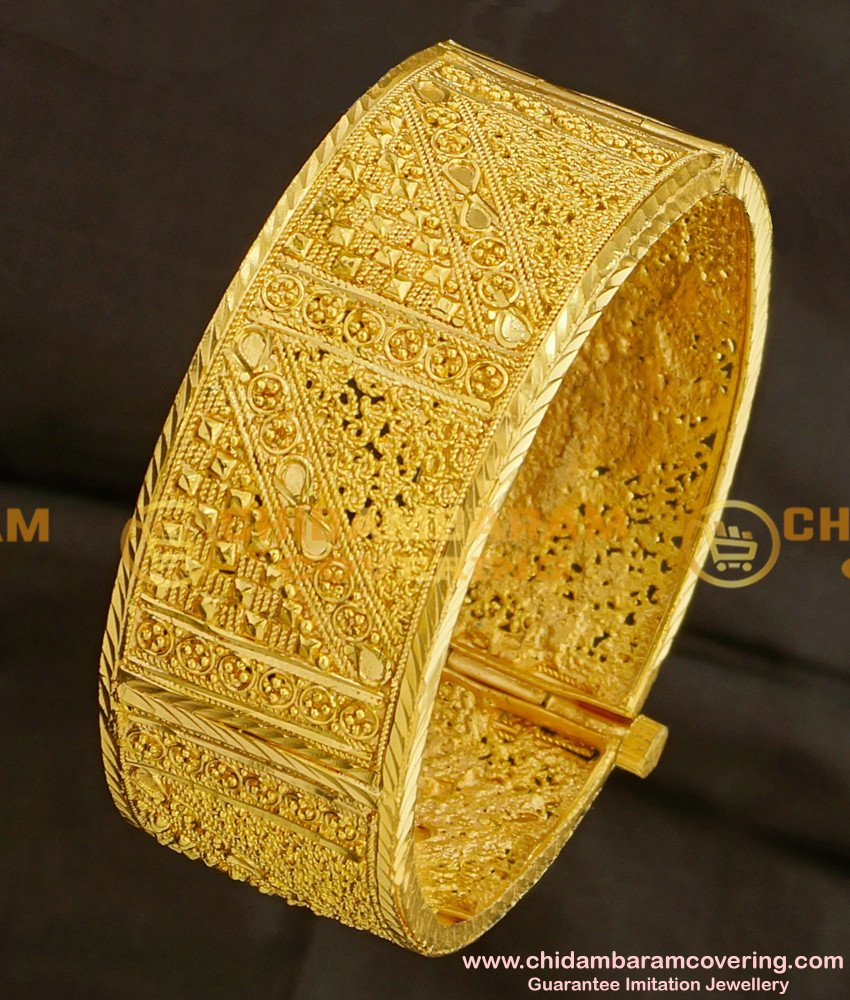 BNG088 - 2.6 Size Gold Look Kada Bangle Designs Bridal Jewellery Online