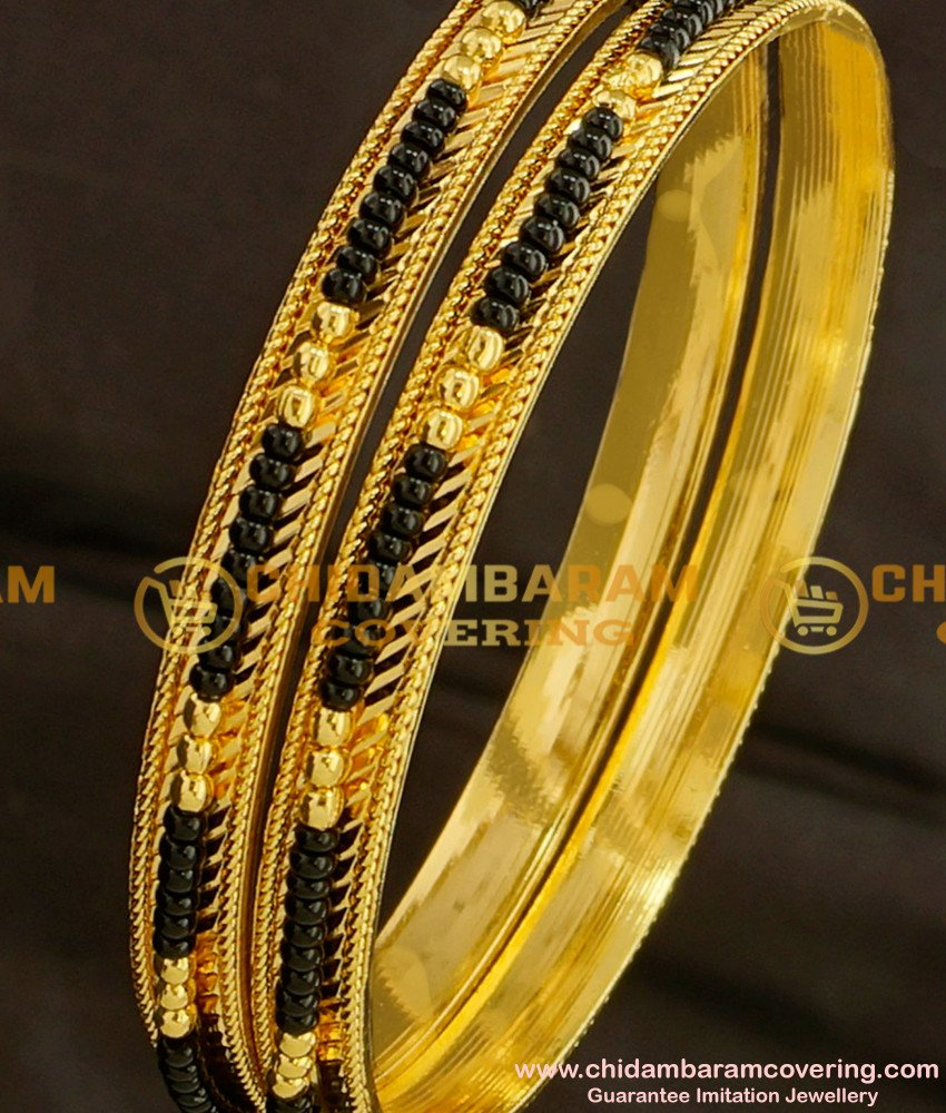 BNG093 - 2.6 Size Traditional Collection Black Bead/Karimani Bangles for Women