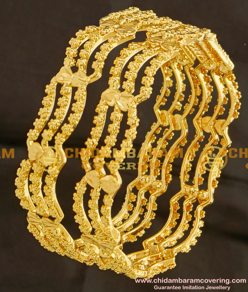 BNG097 - 2.4 Size New Pattern Curvy Shape 3 Line Guarantee Bangles Online Shopping