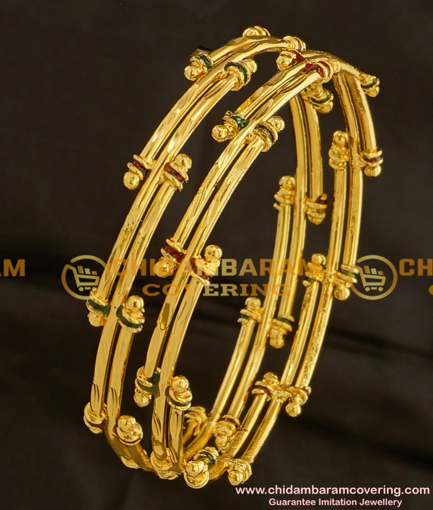 BNG098 - 2.6 Size Gold Look Bamboo Design Enamel Bangles Gold Plated Jewellery Online