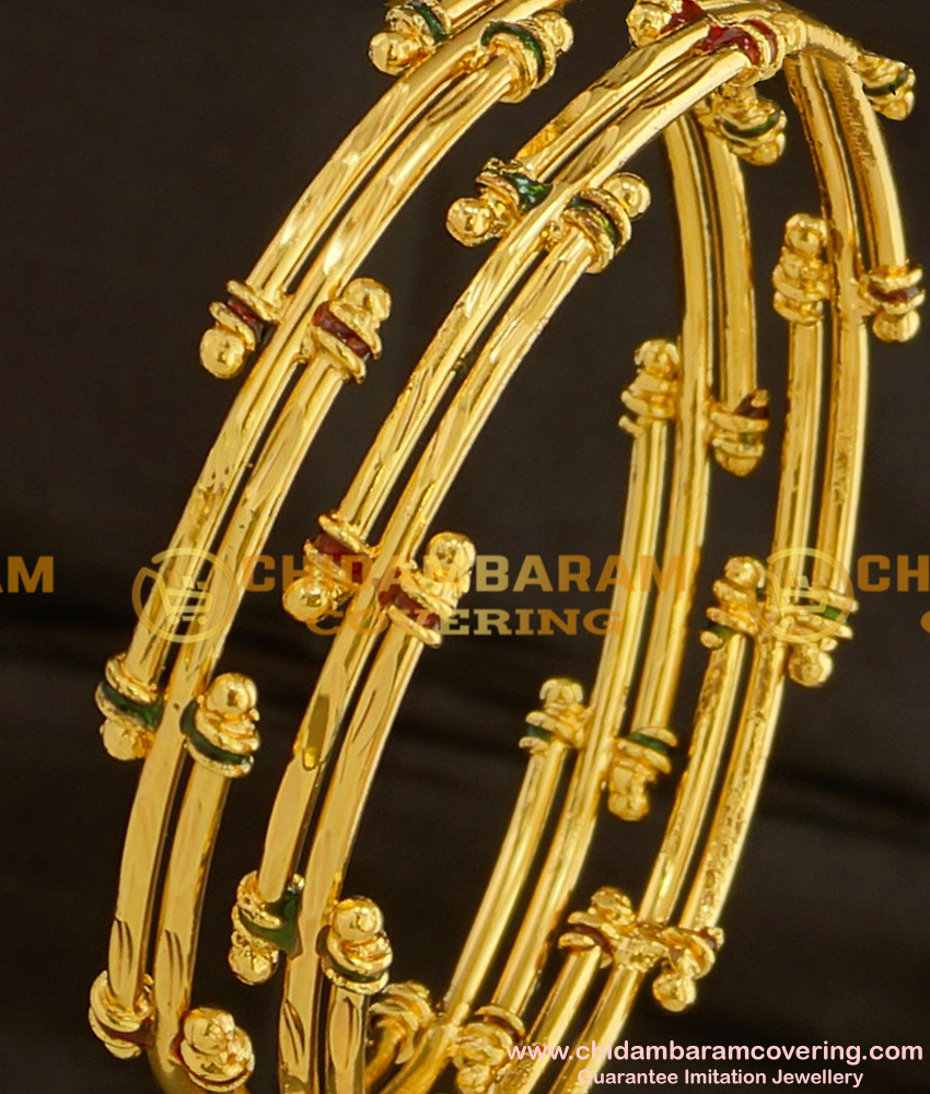 BNG098 - 2.4 Size Gold Look Bamboo Design Enamel Bangles Gold Plated Jewellery Online