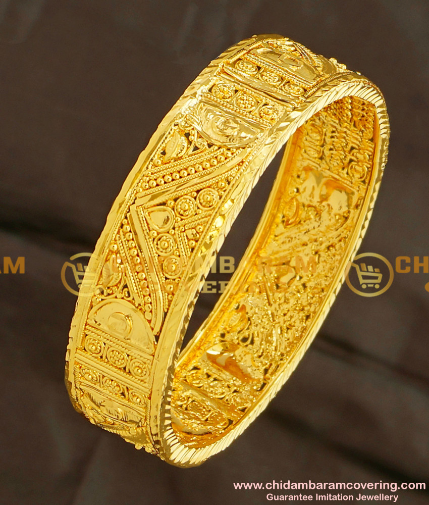 BNG102 - 2.4 Size Gold Plated Single Broad Kada Bangle for Girls