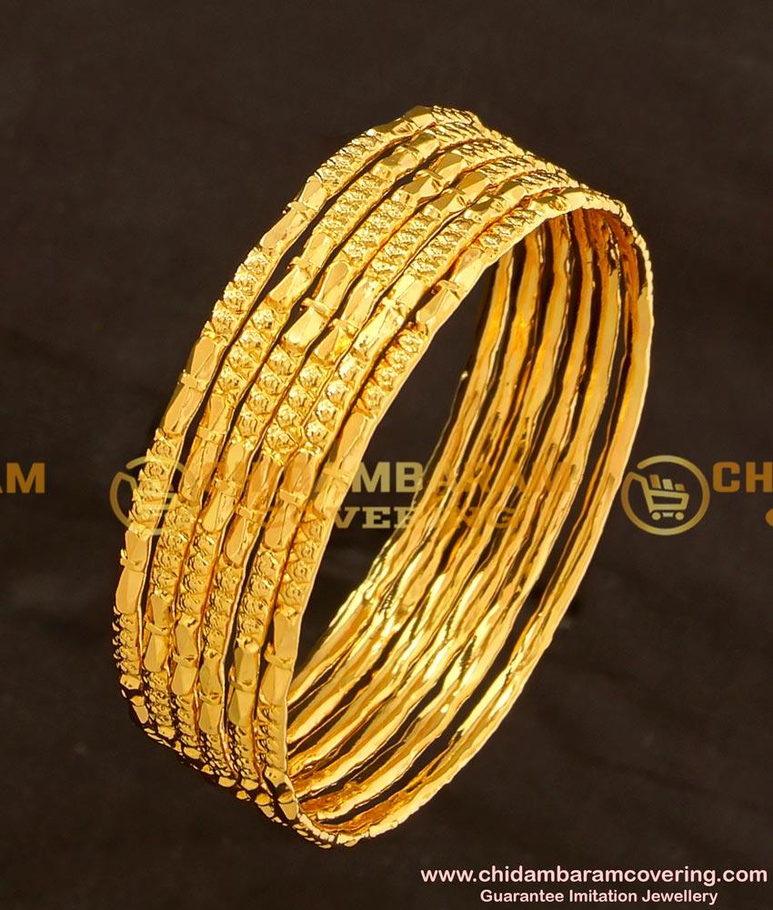 BNG110 - 2.6 Size One Gram Gold Daily Wear 6 Pcs Bangles Imitation Bangle Online