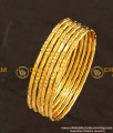 BNG111 - 2.4 Size Bridal Wear One Gram Gold Glass Cutting Design Bangles Online