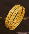 BNG116 - 2.4 Size Gold Plated Thick Metal Twisted Bangles Design