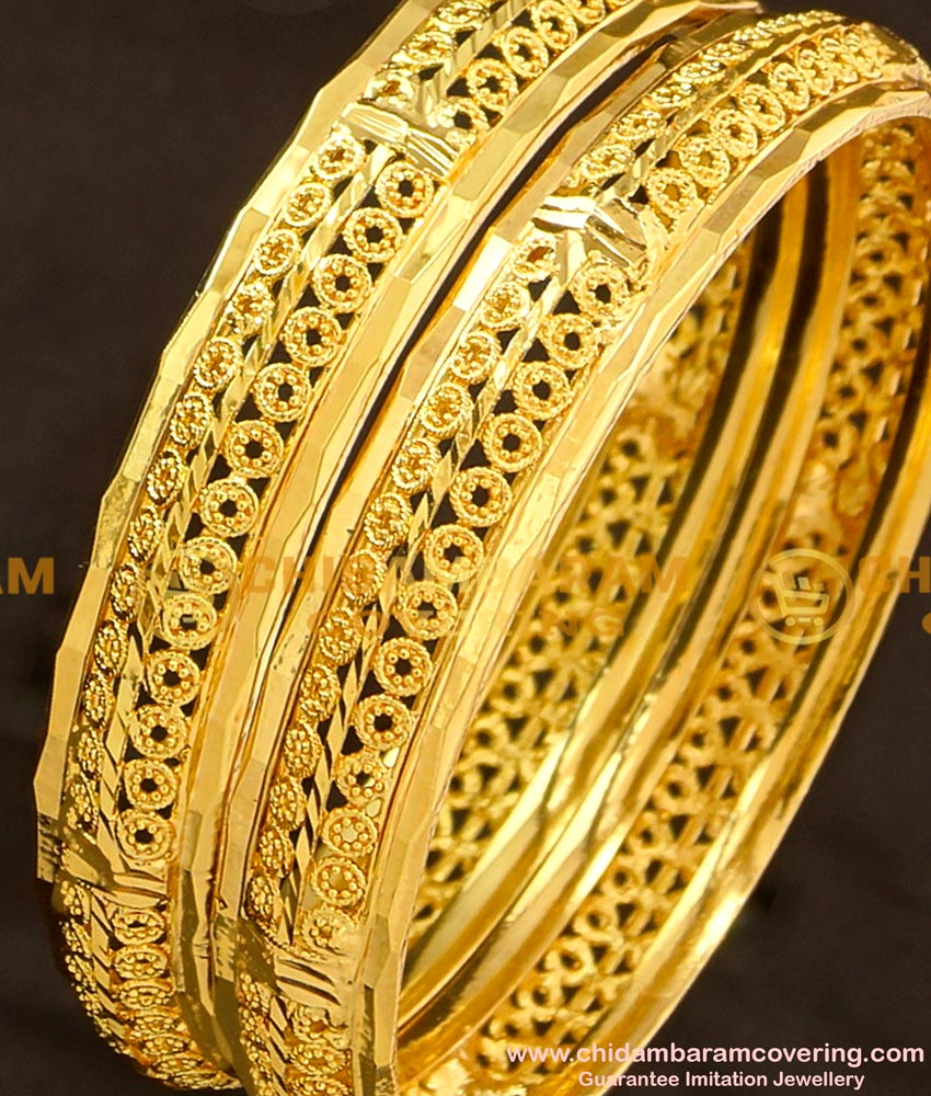 BNG122 - 2.6 Size Real Gold Colour Unique Design Bangles Collections Online