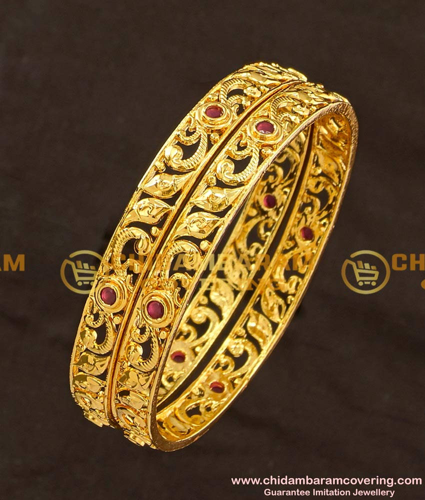 BNG123 - 2.6 Size New Modal Ruby Stone Gold Texture 1 Gram Gold Plated Bangle Buy Online