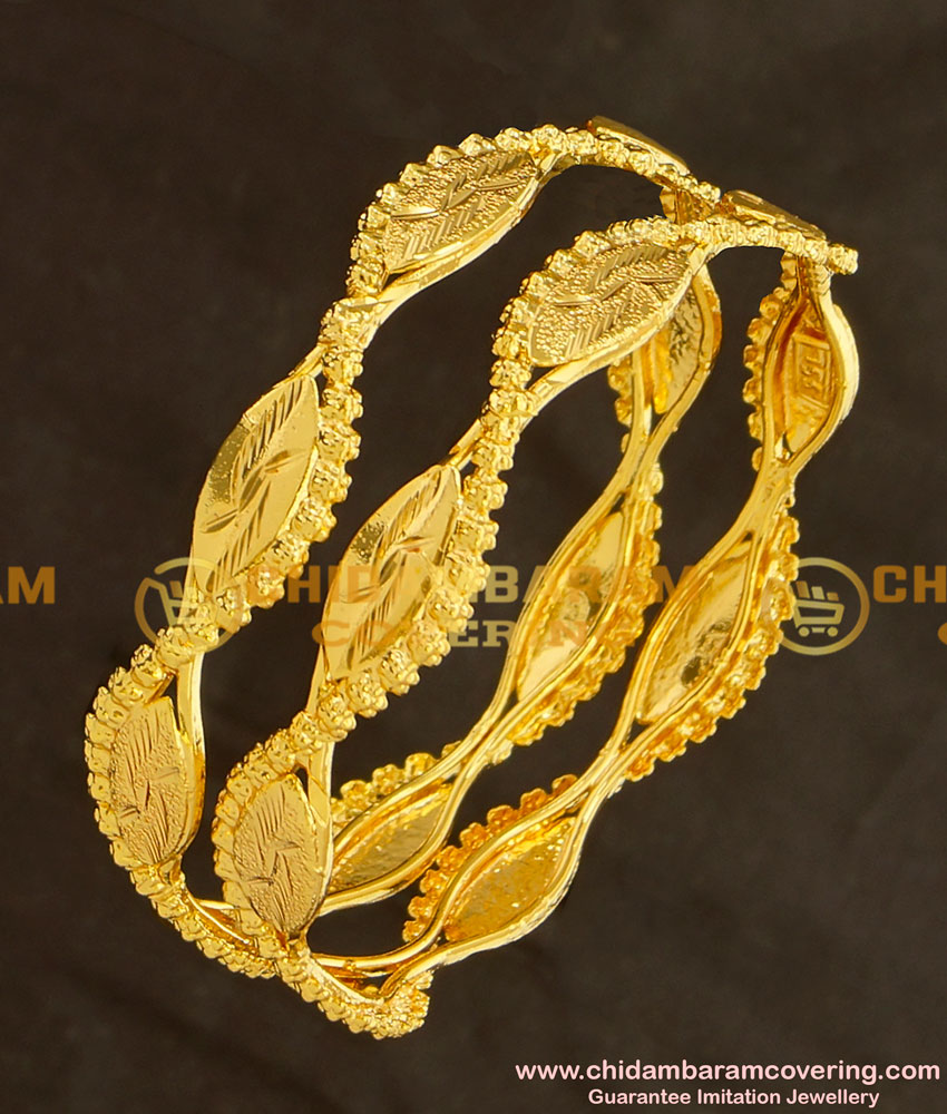 BNG124 - 2.8 Size South Indian One Gram Gold Bangles Design for Women