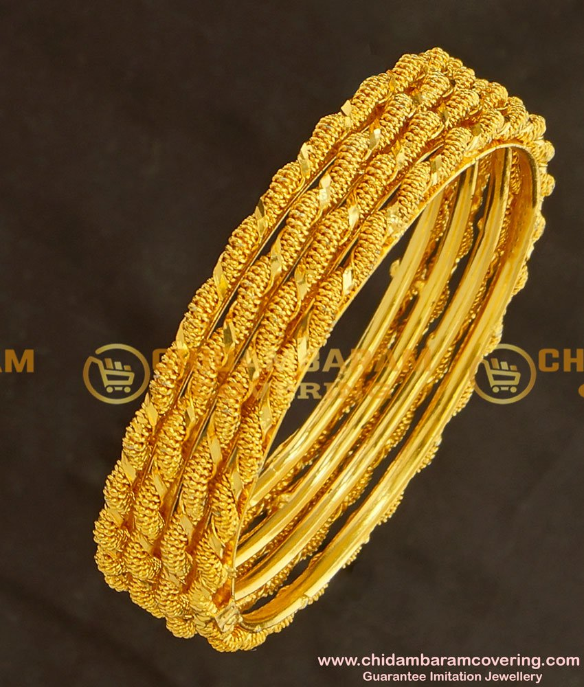 BNG126 - 2.6 Size Trendy Twisted Bangles 4 Pcs Set Daily Wear Collection Online