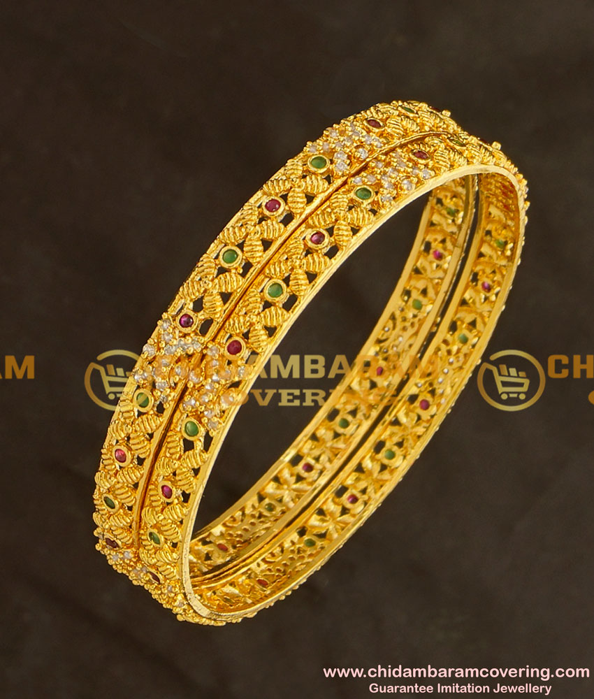 BNG128 - 2.6 Size New Designer Multi Stone Gold Style 1 Gram Gold Plated Bangle Buy Online