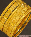 BNG129 - 2.8 Size New Pattern Gold Look 6 Pieces Non Guarantee Bangles Set for Saree