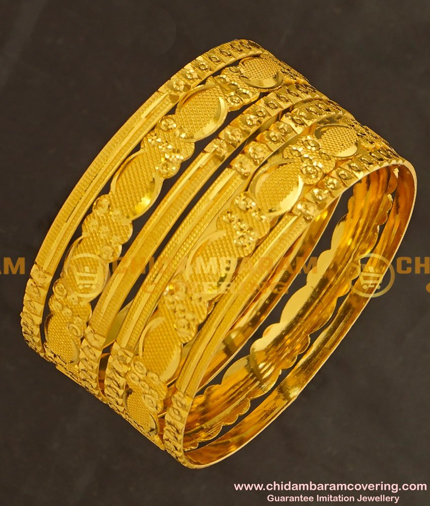 BNG130 - 2.6 Size Latest Model Gold Look 6 Pieces Non Guarantee Bangles Set for Women